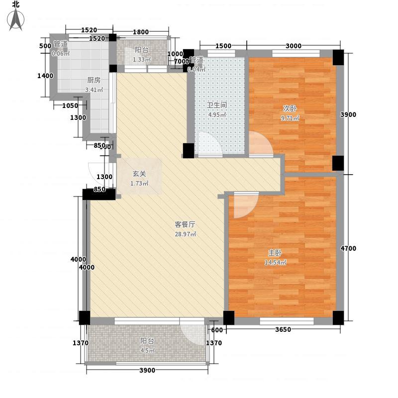 乾和隆湾2.00㎡7号楼、12号楼E户型2室2厅1卫1厨