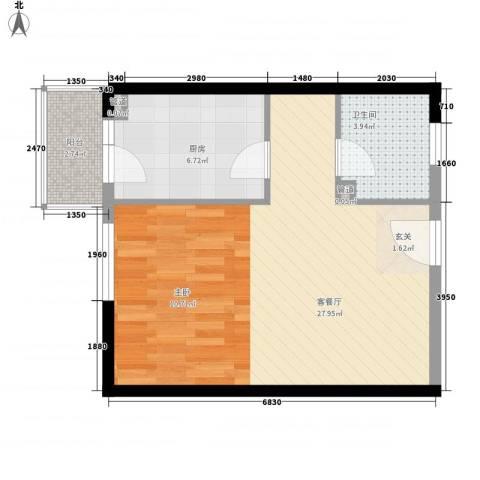 金基泰和苑1厅1卫1厨46.45㎡户型图