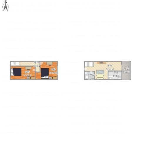 首邑溪谷26-10192室2厅1卫1厨80.00㎡户型图