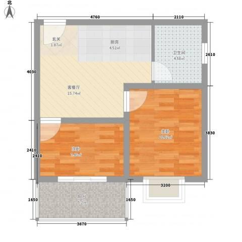 绿城新干线2室1厅1卫0厨63.00㎡户型图