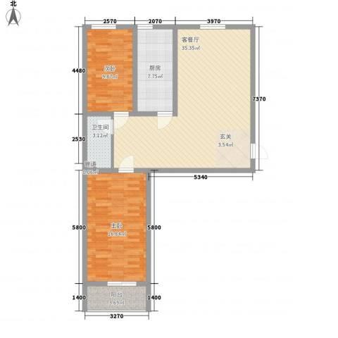 宜居嘉园2室1厅1卫1厨87.00㎡户型图