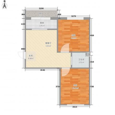 美景天城2室1厅1卫1厨59.00㎡户型图