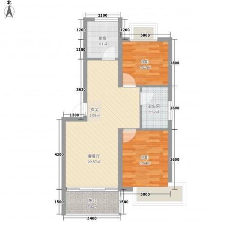 海滨花园2室1厅1卫1厨74.00㎡户型图