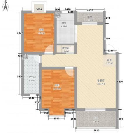 江铜花苑2室1厅1卫1厨99.00㎡户型图