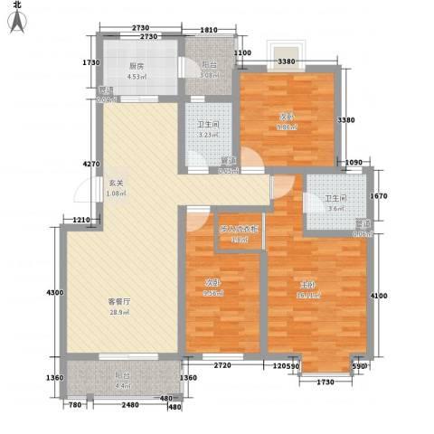 江铜花苑3室1厅2卫1厨124.00㎡户型图