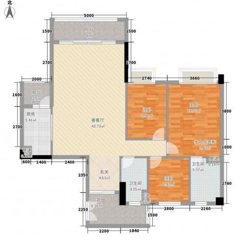 奥园海景城3室1厅2卫1厨134.00㎡户型图
