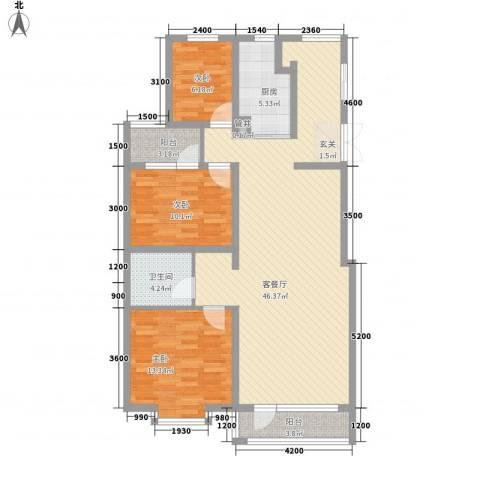 佳弘・中央公馆3室1厅1卫1厨122.00㎡户型图