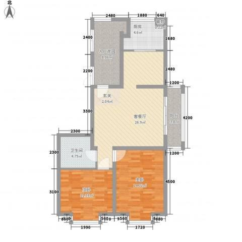 佳弘・中央公馆2室1厅1卫1厨74.38㎡户型图