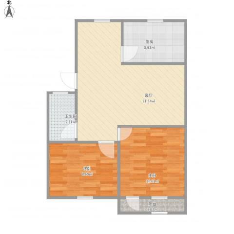 富泉樱花苑2室1厅1卫1厨70.00㎡户型图