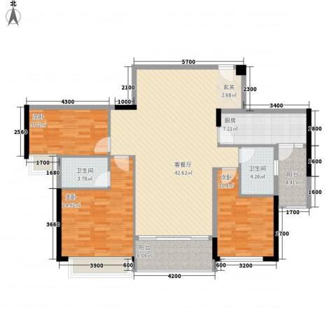 奥园海景城3室1厅2卫1厨127.00㎡户型图