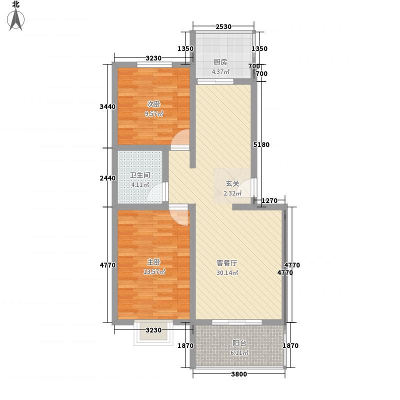 金色家园7.00㎡A户型2室2厅1卫1厨