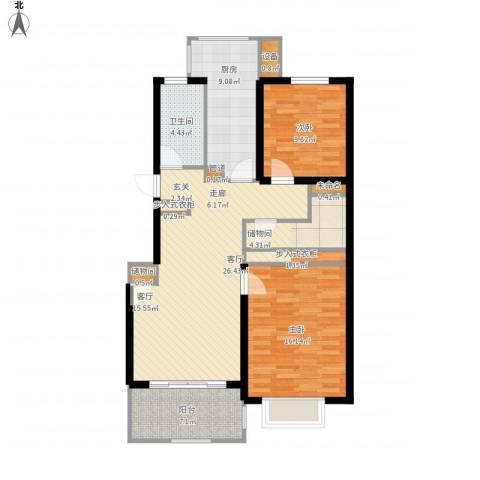 申亚瑞庭2室1厅1卫1厨115.00㎡户型图