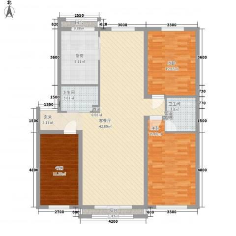 车城名仕家园A区3室1厅2卫1厨142.00㎡户型图