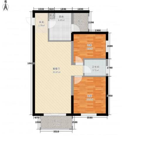 土房局宿舍2室1厅1卫1厨101.00㎡户型图