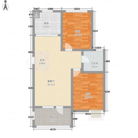 鸿发苑2室1厅1卫1厨106.00㎡户型图