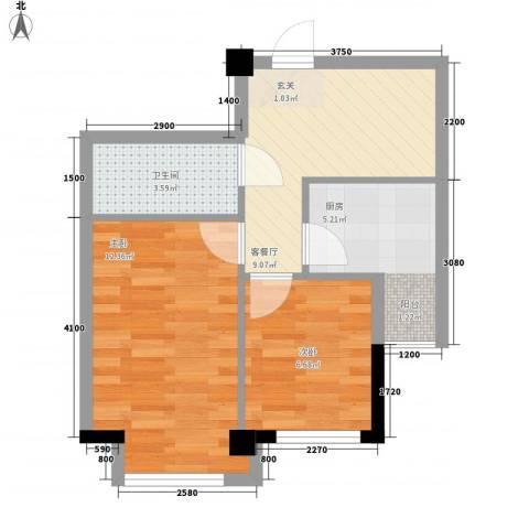 东城左岸2室1厅1卫1厨59.00㎡户型图