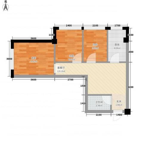 东城左岸3室1厅1卫1厨67.00㎡户型图
