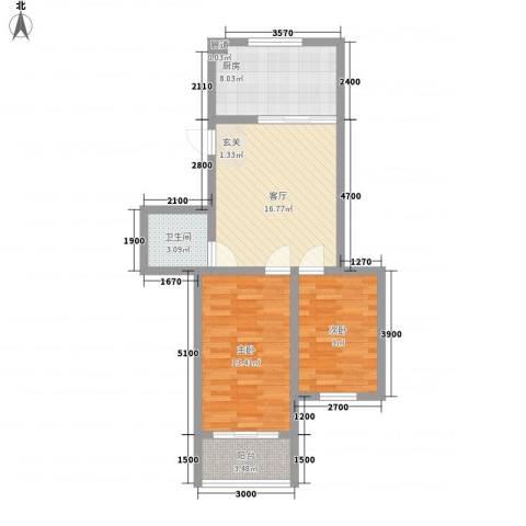 戴河仕嘉2室1厅1卫1厨78.00㎡户型图
