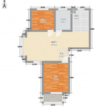 戴河仕嘉2室1厅1卫0厨80.00㎡户型图