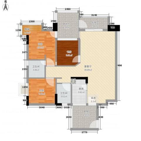 雅郡花园会展宫寓3室1厅2卫1厨115.00㎡户型图