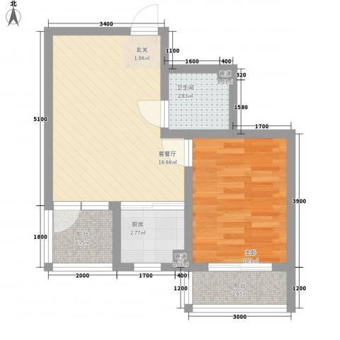 戴河仕嘉1室1厅1卫1厨57.00㎡户型图