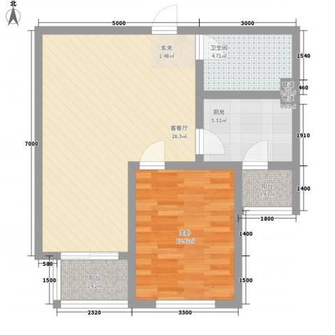 戴河仕嘉1室1厅1卫1厨77.00㎡户型图