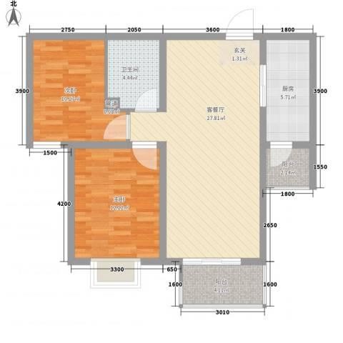 雅绅鸿居2室1厅1卫1厨95.00㎡户型图
