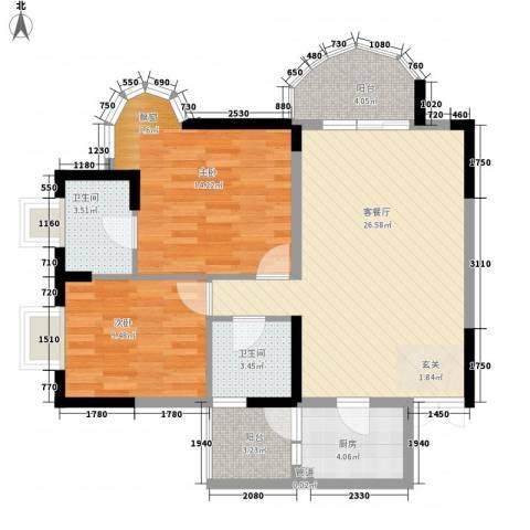 天工太阳岛2室1厅2卫1厨68.60㎡户型图