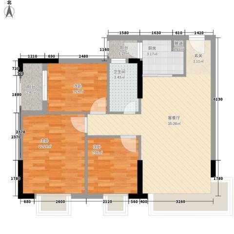 金惠大厦3室1厅1卫1厨88.00㎡户型图