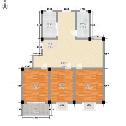 碧水蓝湾3室1厅1卫1厨124.00㎡户型图