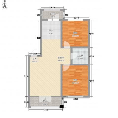华远・龙湾2室1厅1卫0厨69.85㎡户型图