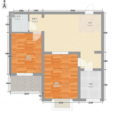 宜居嘉园2室1厅1卫1厨66.00㎡户型图