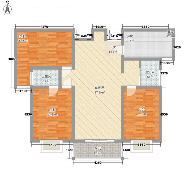 永龙华府142.60㎡C-3户型3室2厅2卫1厨