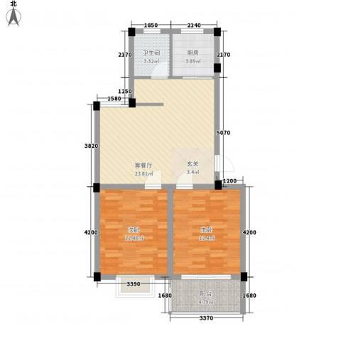 碧水蓝湾2室1厅1卫1厨86.00㎡户型图