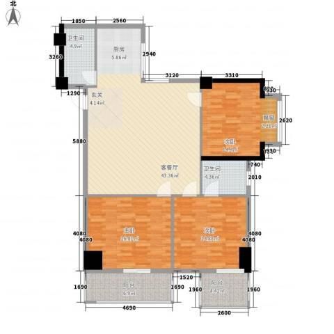 海滨大厦3室1厅2卫0厨113.00㎡户型图