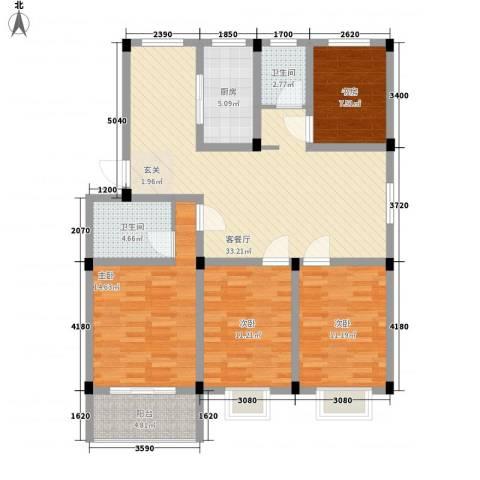 碧水蓝湾4室1厅2卫1厨138.00㎡户型图