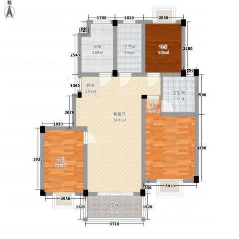 碧水蓝湾3室1厅2卫1厨116.00㎡户型图