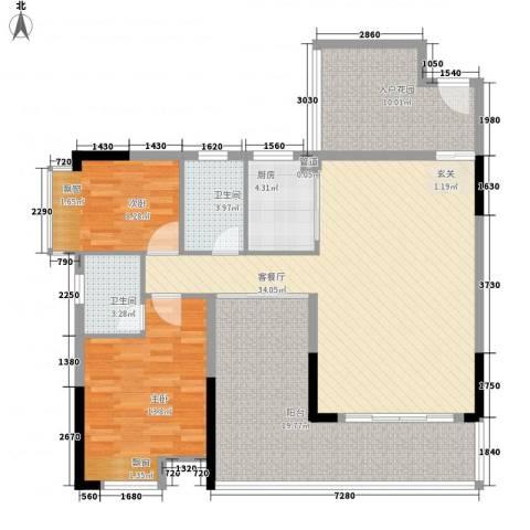 瑞峰爱地2室1厅2卫1厨97.52㎡户型图