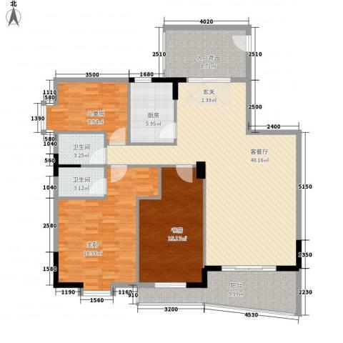 园洲中心花园3室1厅2卫1厨135.00㎡户型图