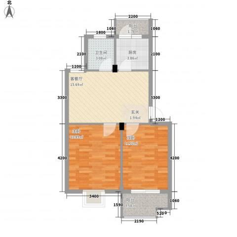 东裕新村四期2室1厅1卫1厨65.00㎡户型图