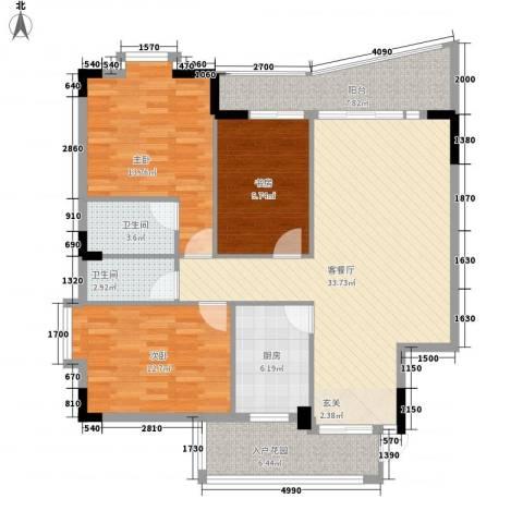 园洲中心花园3室1厅2卫1厨126.00㎡户型图
