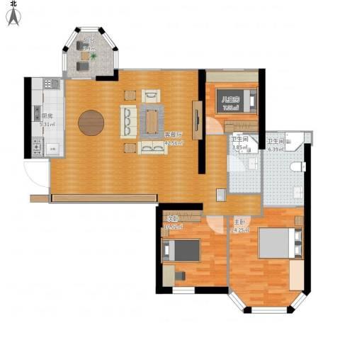 唐程御品3室1厅2卫1厨113.00㎡户型图