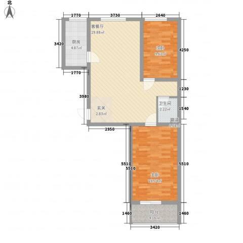 宜居嘉园2室1厅1卫1厨77.00㎡户型图