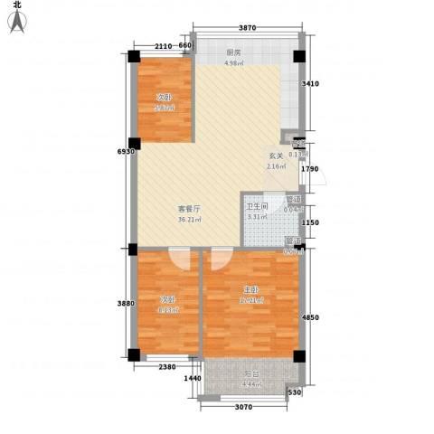 盛福家园2室1厅1卫0厨65.10㎡户型图