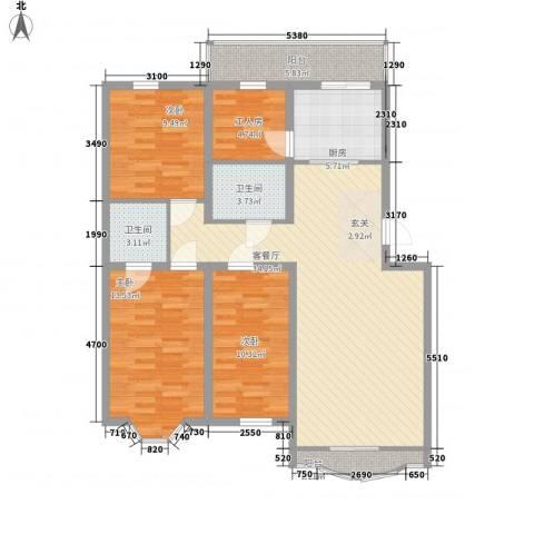 万达花园3室1厅2卫1厨133.00㎡户型图
