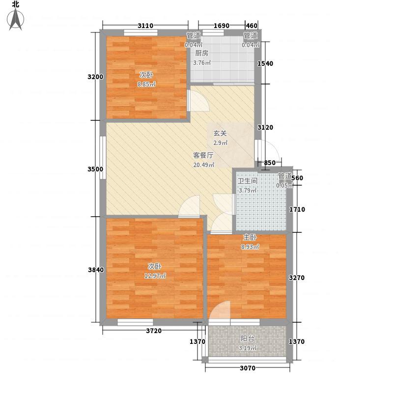 澳海・7号公馆87.00㎡户型3室2厅1卫1厨