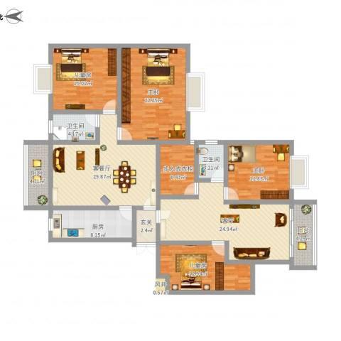 岳银欣苑4室2厅2卫1厨215.00㎡户型图