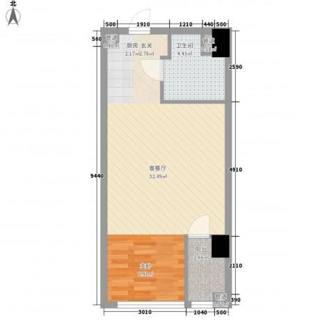 海天广场1厅1卫0厨45.00㎡户型图