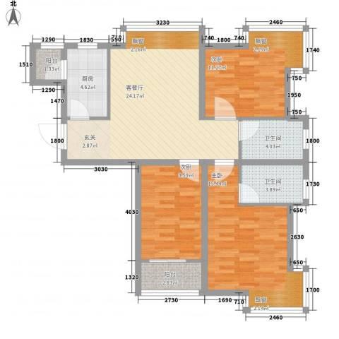 玉泉花园3室1厅2卫1厨111.00㎡户型图