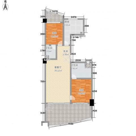 三亚湾国际公馆2室1厅2卫1厨129.00㎡户型图